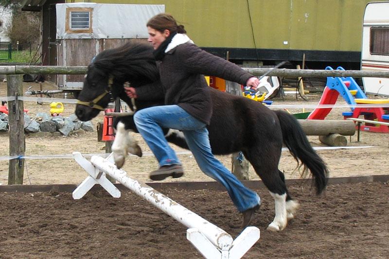 Mensch und Pony beim Cavaletti-Sprung - HIPPOLINI®-Konzept für alle Altersgruppen